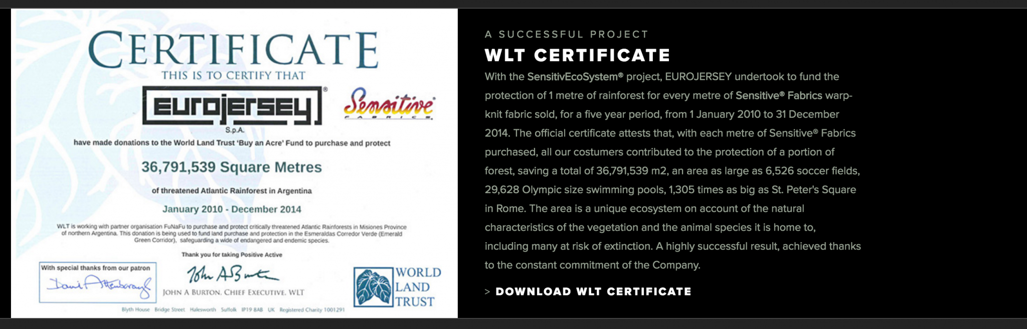 Eurojersey World Land Trust Certificate