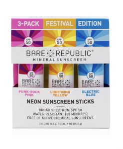 Bare Republic SPF50 Neon Sunscreen Zinc Mineral