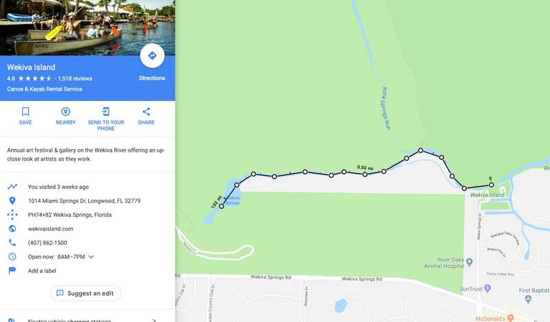 Wekiva Springs Paddle Map