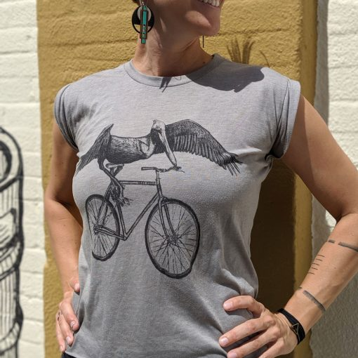 Dark Cycle Pelican Riding a Bike Tshirt