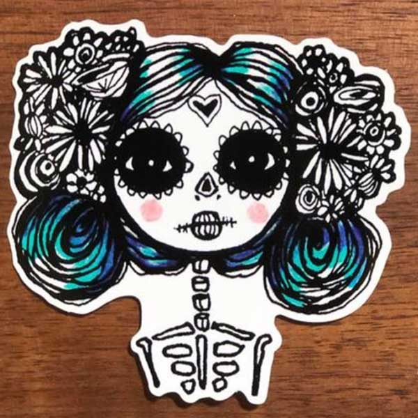Calavera Day of the Dead sticker by Migdalia Pace
